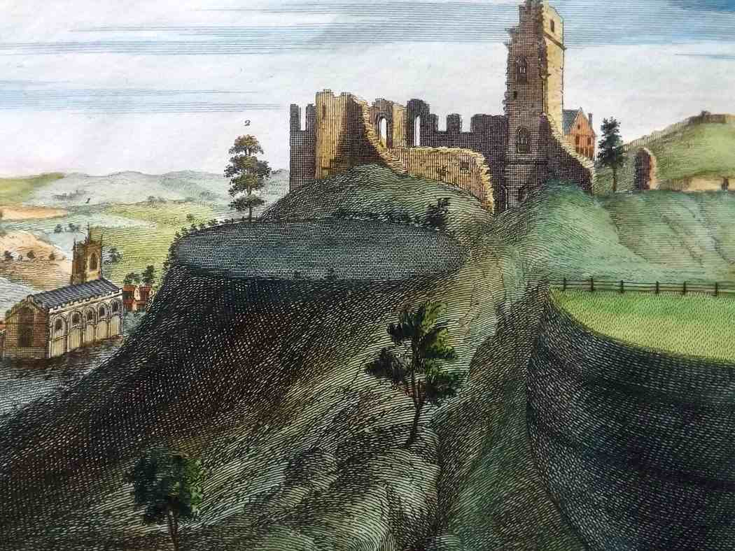 Buck-1731-Folio-Hand-Col-Architecture-Print.-The-East-View-of-Tutbury-Castle-in-the-County-of-Staffford-[1]-185169-p